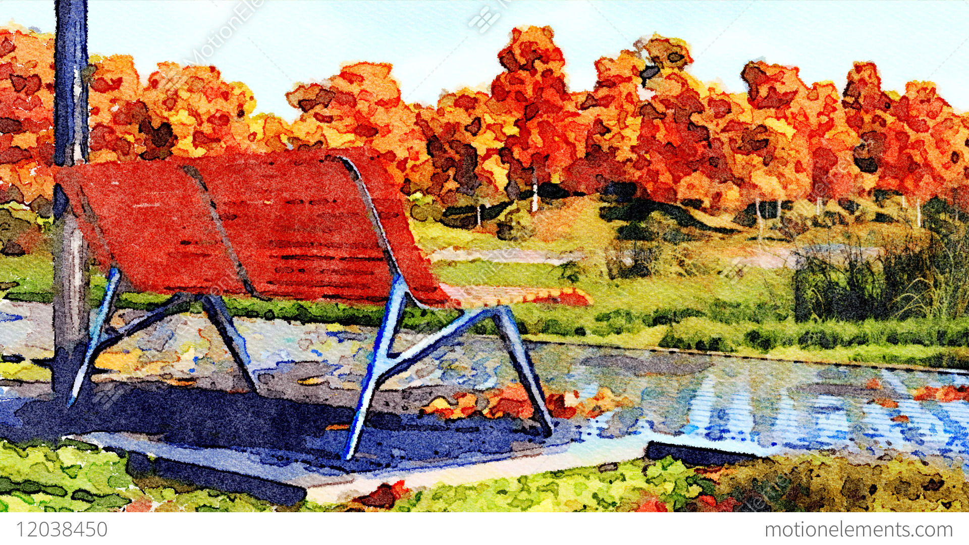1920x1080 Empty Bench In Autumn Park Watercolor Landscape Stock Animation