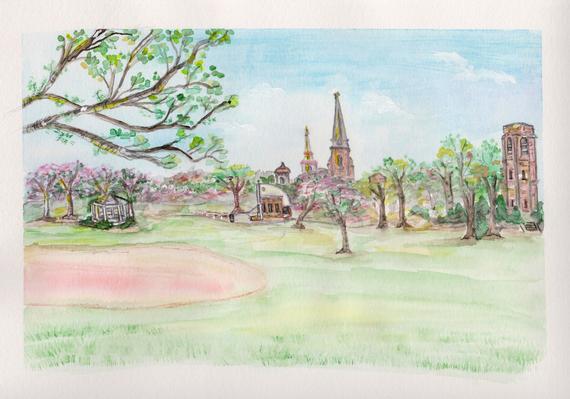 570x399 Frederick Maryland Art Print Baker Park Watercolor Downtown Etsy