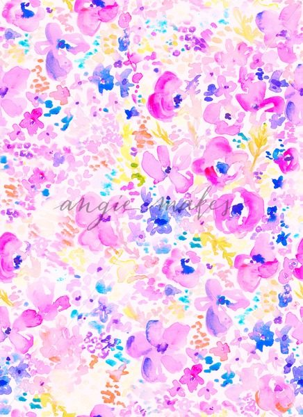 436x600 Wild Abstract Watercolor Pattern. Modern Abstract Floral