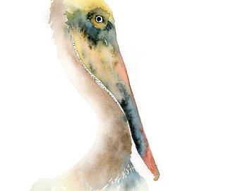 340x270 Pelican Print Of Watercolor Painting Digital Pelican Print