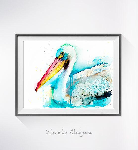 556x604 American White Pelican Watercolor Painting Print,
