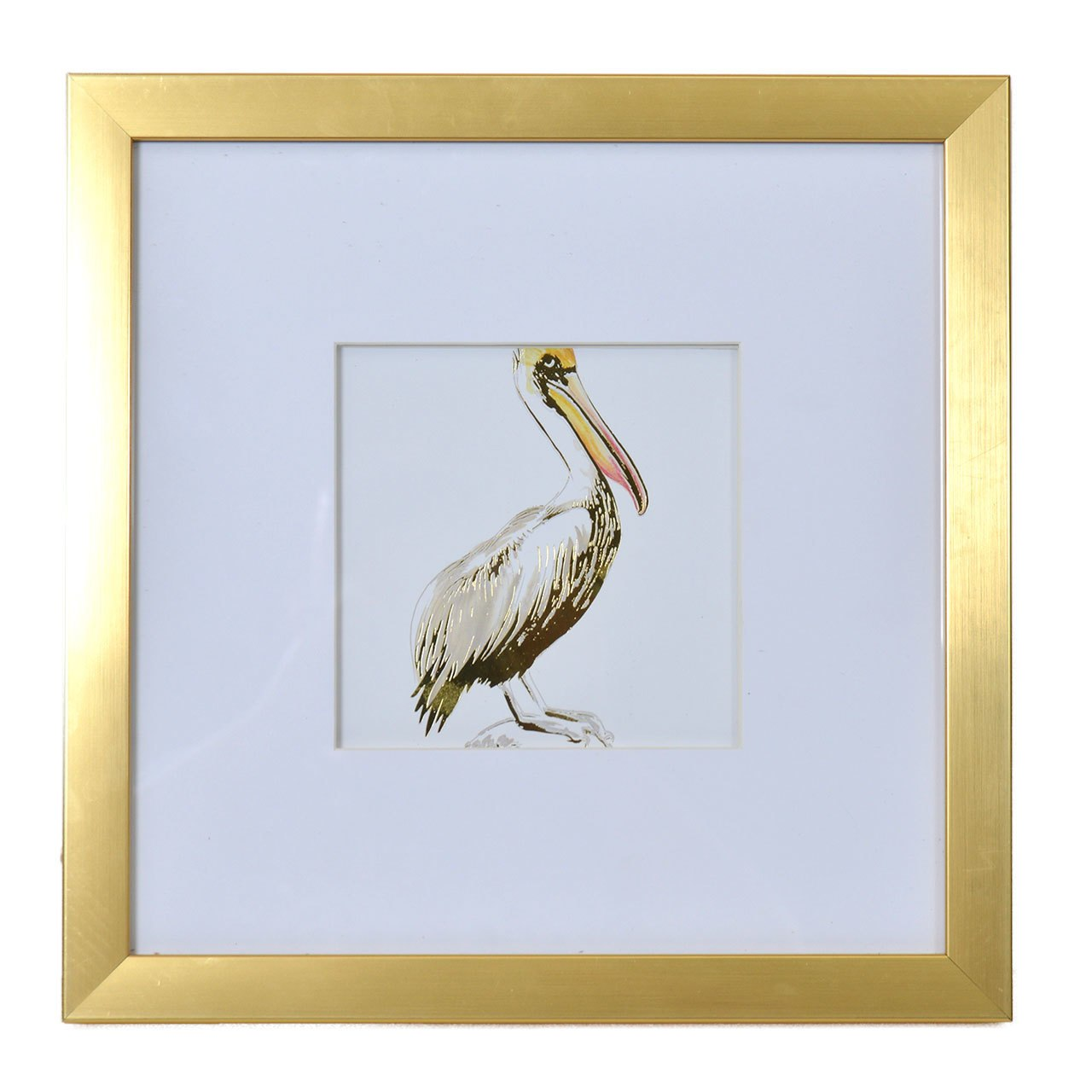 1280x1280 Watercolor And Gold Foil Pelican