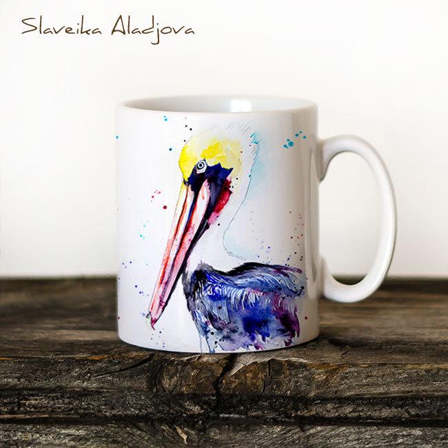 650x650 Brown Pelican Watercolor Coffee Mug