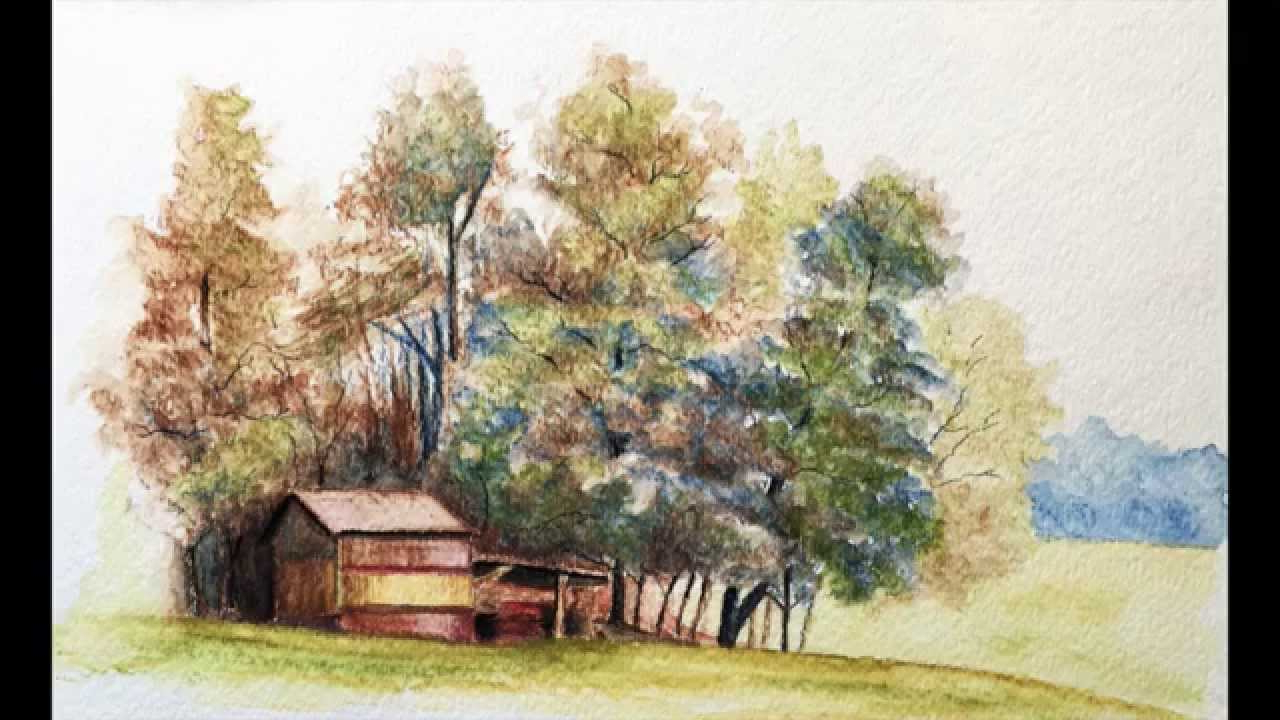 1280x720 Color Pencil Best Landscape Drawing Landscape With Watercolor