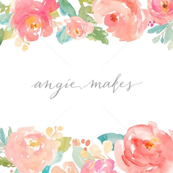 600x600 Watercolor Peony Border Background. Cute Painted Floral Background