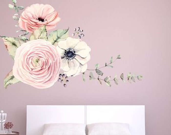 700x556 12. Peony Flower Wall Decals Watercolor Peony Floral Wall Decals