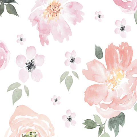 480x480 Watercolor Peony Wallpaper Baby Girl Room Project