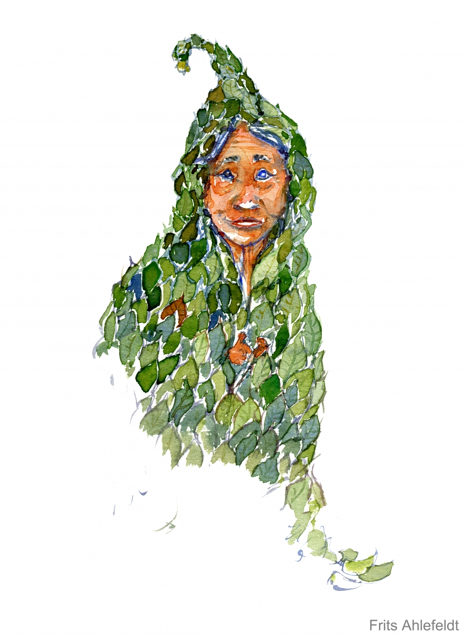 909x1250 Leaf Woman Watercolor The Hiking Artist Project By Frits Ahlefeldt