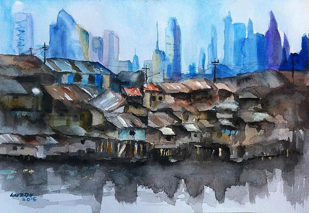 1024x706 Urban Jungle Of The Philippines. Watercolor. 2015 By Danteluzon On