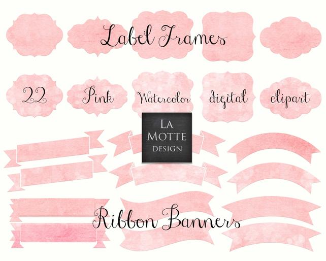 642x514 Digital Pink Watercolor Frames Clipart Pink Watercolor Png Etsy