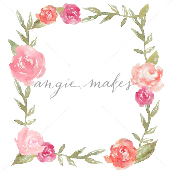 600x600 Cute Watercolor Peony Square Flower Frame Background. Flower Frame