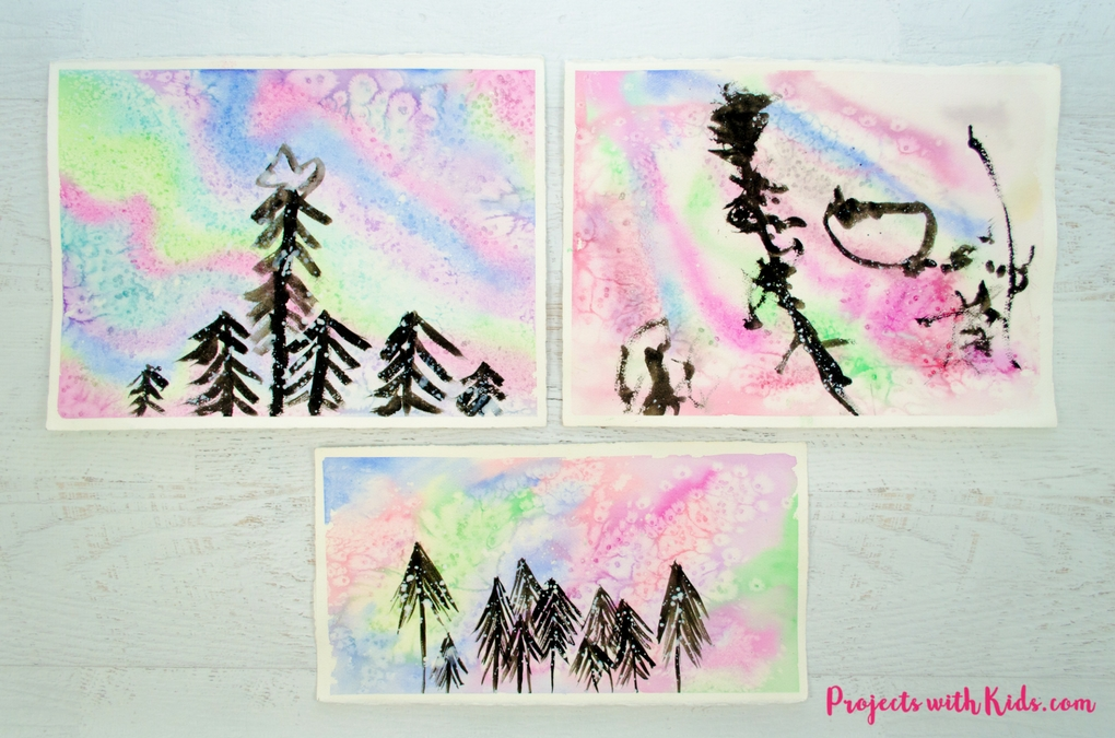 1020x675 Northern Lights Watercolor Painting For Kids Projects With Kids