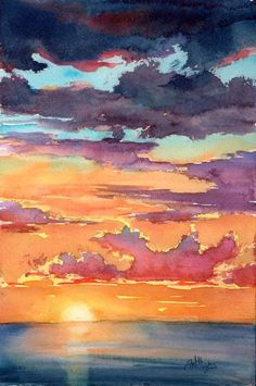 Watercolor Pictures Of Sunsets