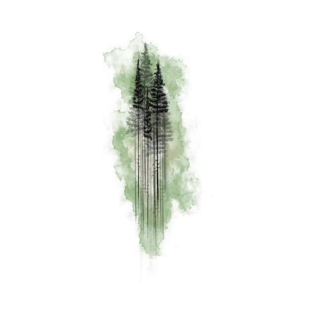630x630 Watercolor Pine Tree Forest Green
