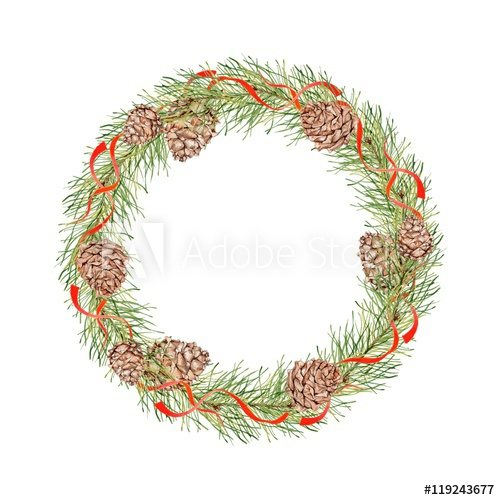 500x500 Christmas Wreath With Pine Cones, Pine Branches And Red Ribbons