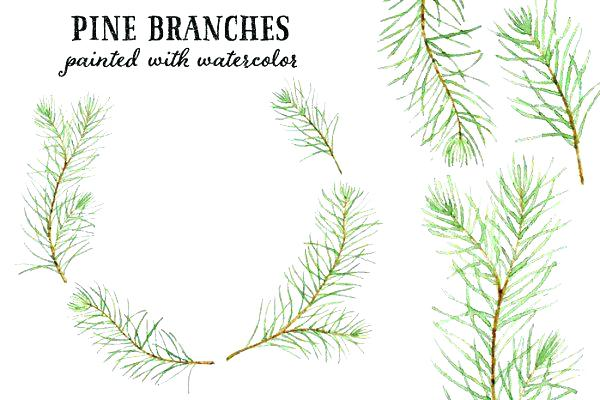 600x400 Tree Branch Clip Art Pine Watercolor Branches Clipart Black And