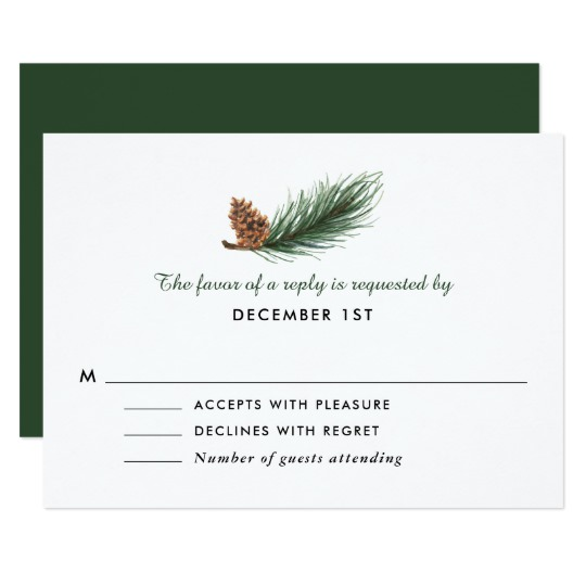 540x540 Watercolor Pine Branch Pine Cone Wedding Rsvp Invitation