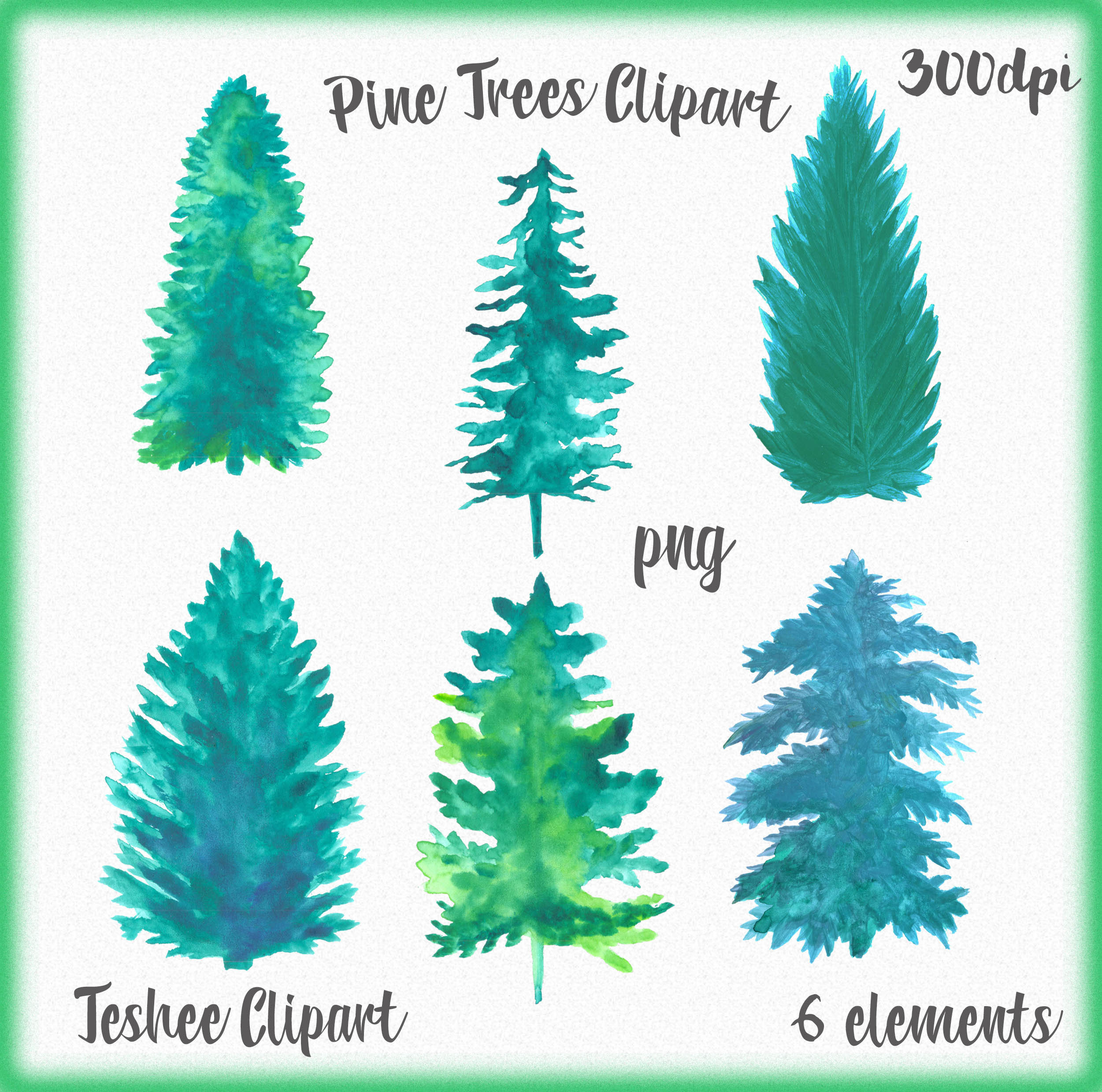 2501x2480 Pine Trees Clipart Watercolor Pine Trees Pine Tree Drawing Etsy