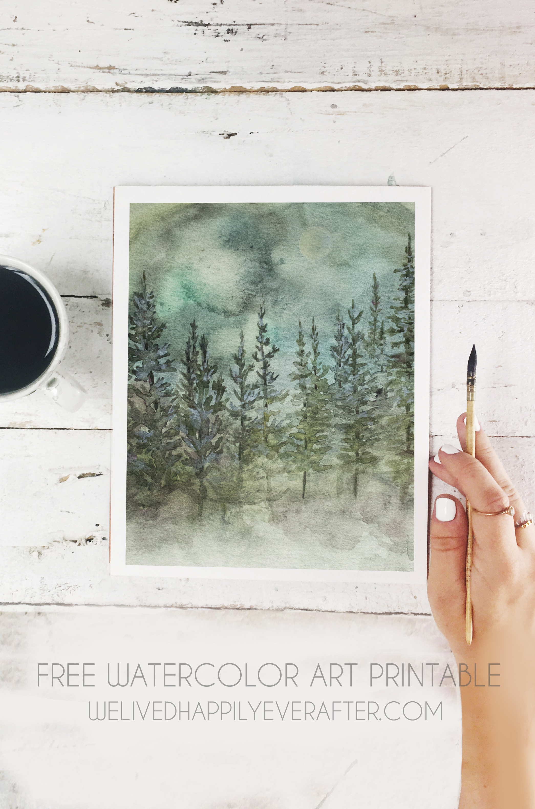 2090x3156 Free Watercolor Mountain Pine Tree Forest Scenery Printable We