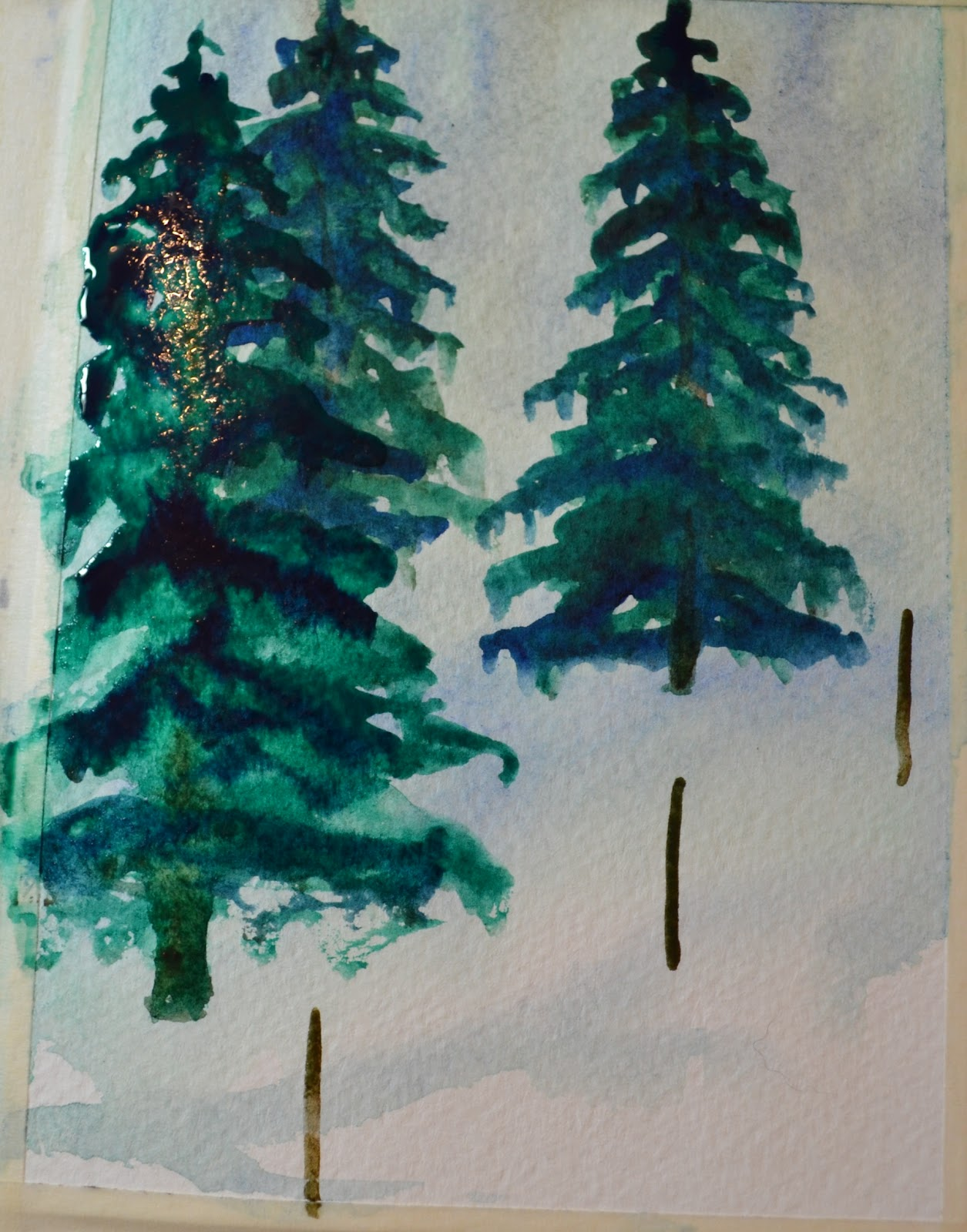 1255x1600 Kellie Chasse Fine Art Steps For Painting A Winter Pine Tree