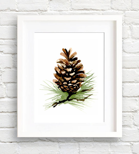570x632 Pine Cone Art Print Wall Decor Watercolor Painting, Pine Cone Wall