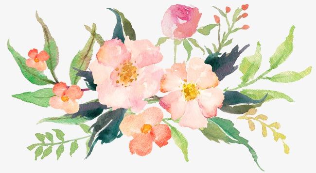 650x357 Watercolor Pink Flower Elegant Style, Watercolor Clipart, Flower