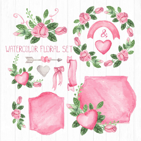 540x539 Pink Watercolor Floral Elements, Pink Roses, Vintage Floral