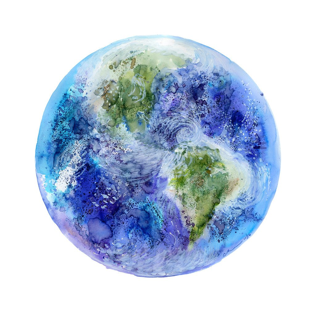 1024x1024 Planet Earth Watercolor Painting Solar System Art Tiny Toes Design