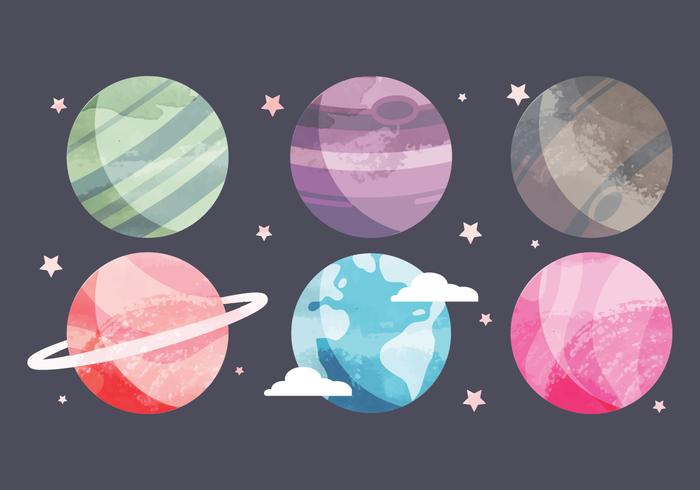 700x490 Vector Watercolor Planets Collection
