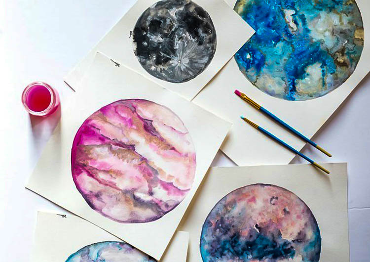 750x530 Watercolor Moons Amp Planets