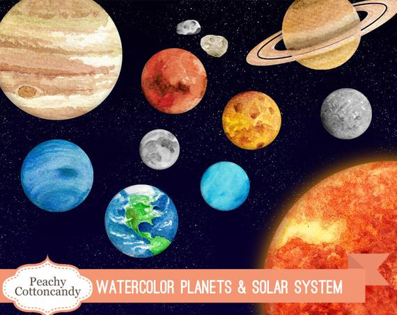 570x453 Buy 2 Get 1 Free Watercolor Solar System Clipart Planet Etsy