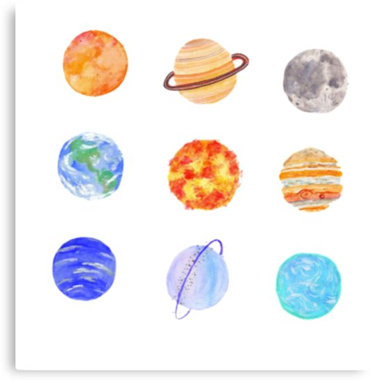 536x550 Watercolor Planets Canvas Prints By Designs Redbubble