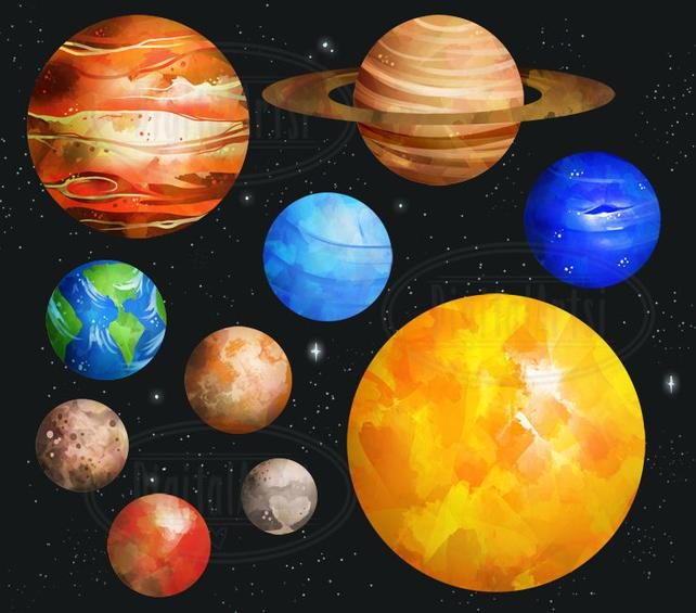 642x565 Watercolor Planets Clipart Solar System Download Instant Etsy