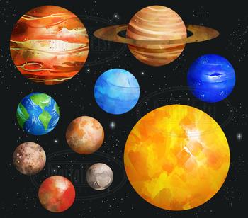 350x308 Watercolor Planets Clipart By Digitalartsi Teachers Pay Teachers