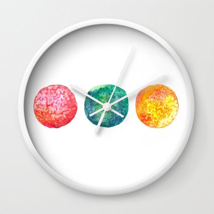 700x700 Watercolor Planets Wall Clock By Clarablum Society6