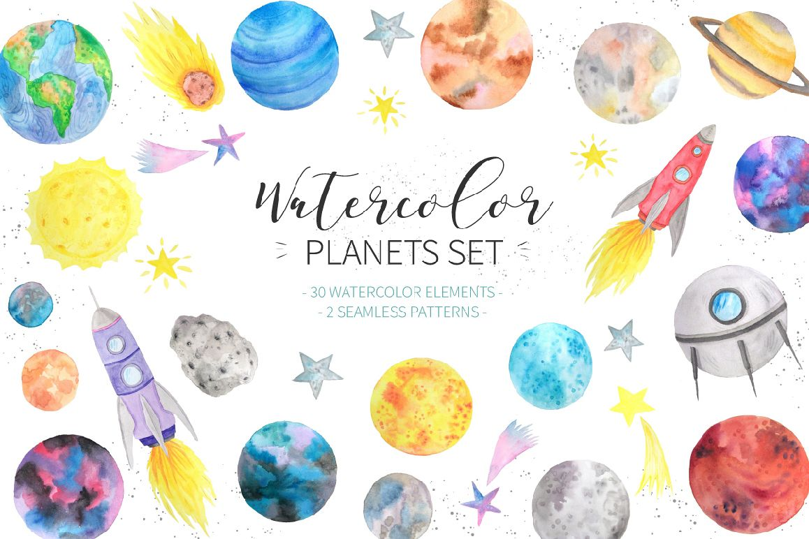 1158x772 Watercolor Planets