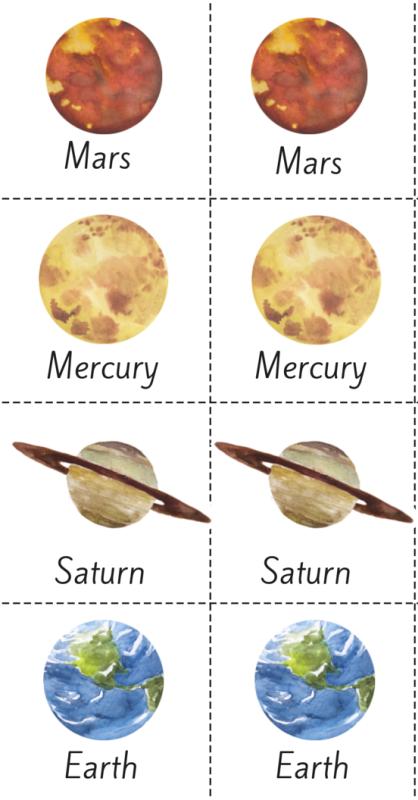 418x800 Beautiful Watercolor Planet Solar System Printable Memory Game!