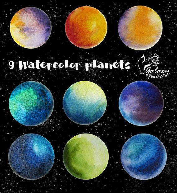 570x620 Watercolor Planets 9 Watercolor Elements Planets Clipart Etsy