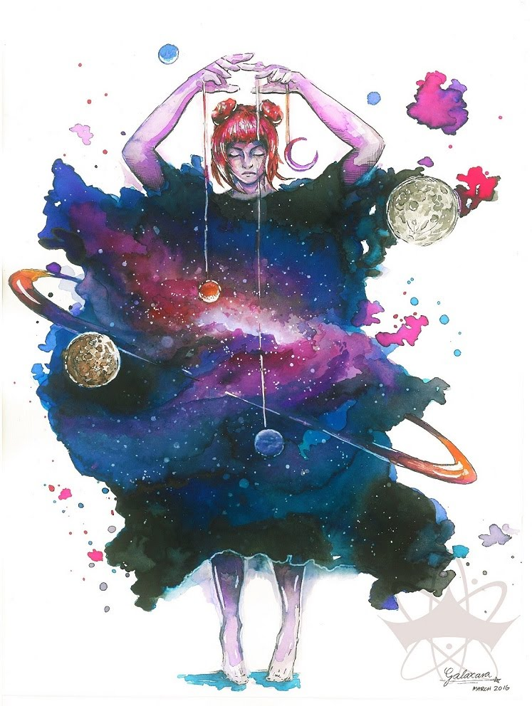 747x992 Watercolor Speedpainting Puppeteer Of Planets By Galaxara