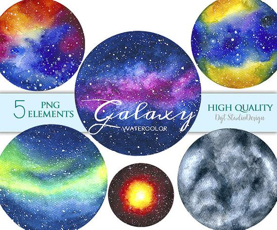 570x473 Watercolor Galaxy Clipart Planets Space Clipart Nebula Etsy