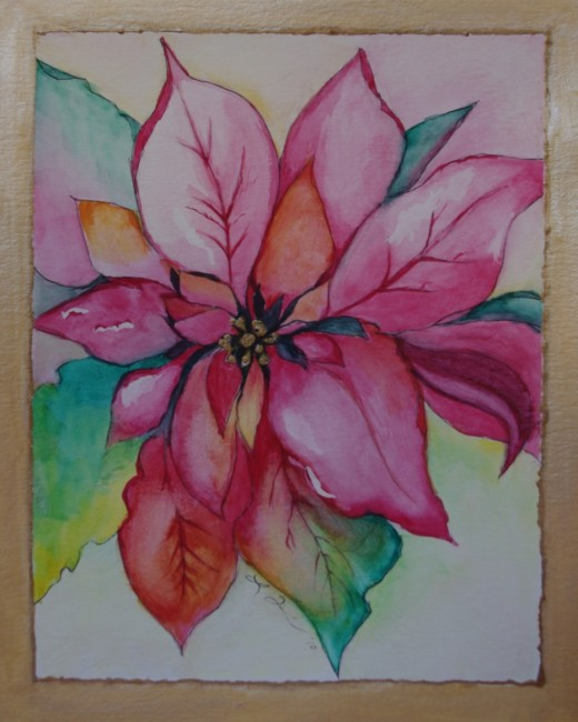520x650 Learn How To Paint A Beautiful Watercolor Poinsettia Christmas