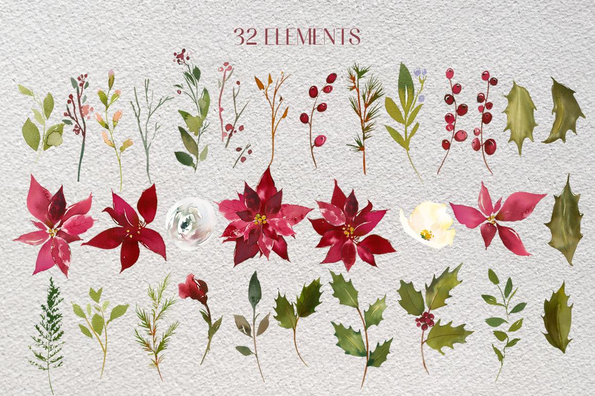 1160x772 Scarlett Christmas Watercolor Poinsettia Design Kit By