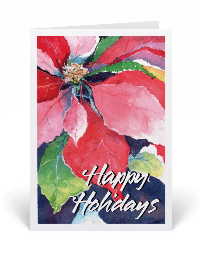 700x897 Watercolor Poinsettia Holiday Christmas Cards [3405] Harrison