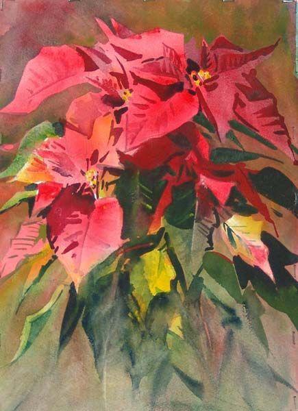 435x600 Watercolor Poinsettia