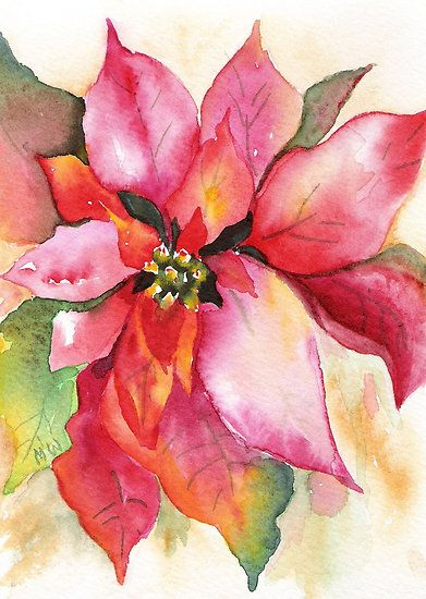 391x550 Christmas Poinsettia Watercolor By Marsha Woods Water + Color