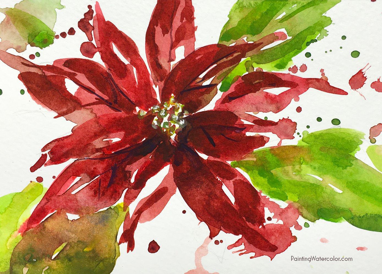 Watercolor Poinsettia Card