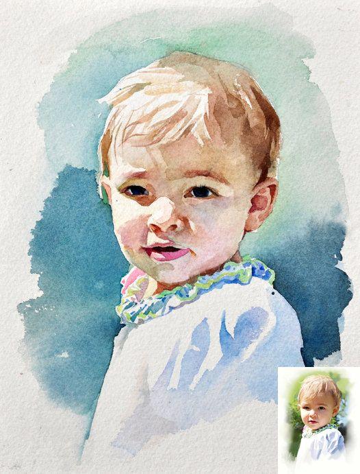 526x691 Custom Watercolor Portrait, Original Painting 5x7 Portrait S