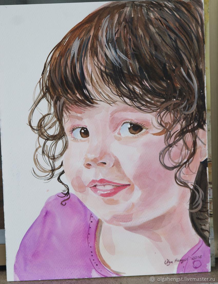 850x1106 Child Portrait Photo Watercolor Portrait To Order 30 X 40 Cm
