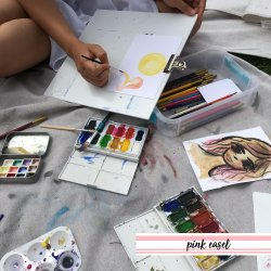 250x250 Pink Easel Watercolor Postcards In San Diego, Ca