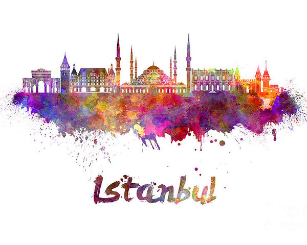600x480 Istanbul Skyline In Watercolor Poster By Pablo Romero